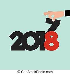 illustrazione, mano, vettore, 2018, mutevole, 2017