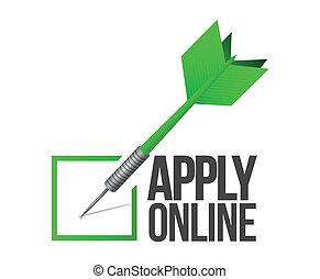 illustrazione, marchio, linea, applicare, freccetta, assegno