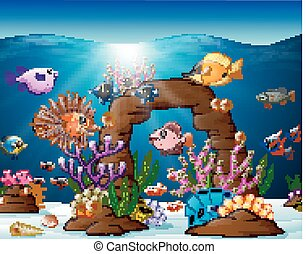 illustrazione, mare, sotto