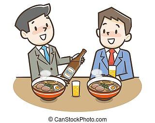 illustrazione, maschio, bere, duetto, ramen, mangiare, alcool
