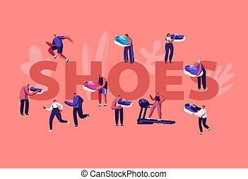 illustrazione, maschio, caratteri, sportivi, vettore, concept., femmina, palestra, sport, passeggiata, appartamento, aviatore, cartone animato, scarpe, fuori, sneakers., calzatura, addestramento, brochure., sportswomen, bandiera, piccolo, manifesto