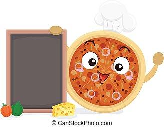 illustrazione, mascotte, asse, pizza, chef