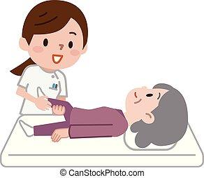 illustrazione, massaggio, rehab