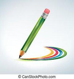 illustrazione matita, arcobaleno