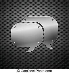 illustrazione, metallico, vettore, discorso, icon., bolla
