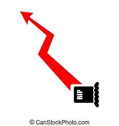 illustrazione, morti, grafico, crescita, increase., chart., ...