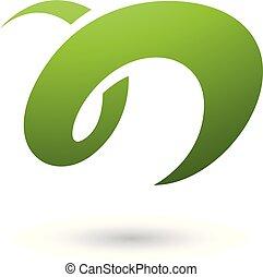 illustrazione, n, curvy, vettore, verde, lettera, divertimento