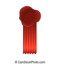 illustrazione, nastro, rosso, vuoto, largo, posto, cremisi, rosetta, vettore