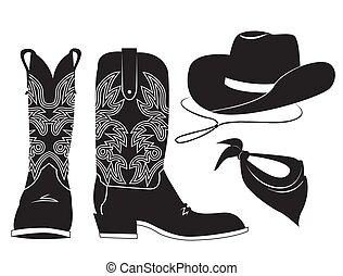 illustrazione, nero, vettore, americano, clothes., occidentale, bandana, bianco, grafico, isolato, cappello, stivale cowboy