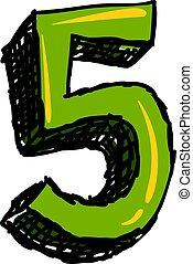 illustrazione, numero, fondo., vettore, verde, cinque, bianco