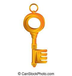 illustrazione, oggetto, vettore, bianco, sfondo dorato, chiave, cartone animato, isolato