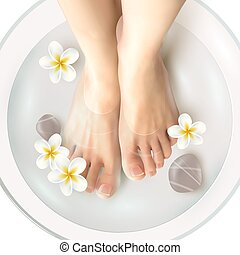 illustrazione, pedicure, terme
