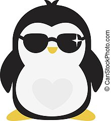 illustrazione, pinguino, fondo., vettore, bianco, fresco