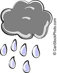 illustrazione, pioggia, fondo., vettore, nube bianca