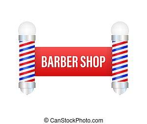 illustrazione, pole., barbiere, classico, negozio, vettore, casato