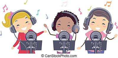 illustrazione, pop, bambini, disco, stella, stickman, ragazze