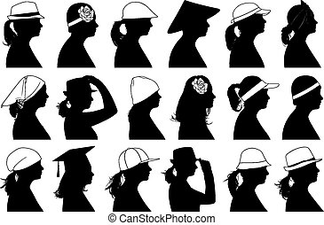 illustrazione, profili, donne