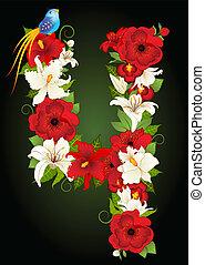 illustrazione, quattro, vettore, floreale