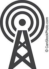 illustrazione, radiodiffusione, fondo., vettore, nero, bianco, icona