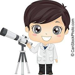 illustrazione, ragazzo, capretto, astronomo