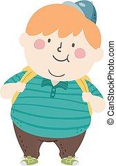 illustrazione, ragazzo, capretto, studente, grasso