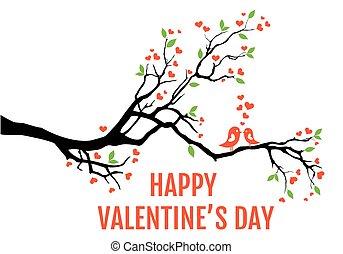 illustrazione, ramo, albero, cuori, amare uccelli, foglie, vettore