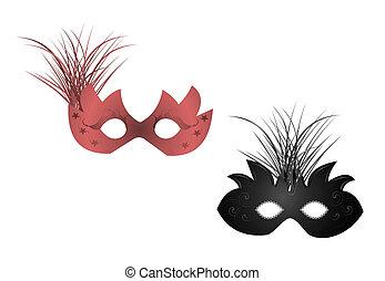 illustrazione, realistico, carnevale, maschere