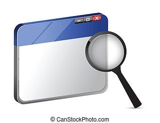 illustrazione, ricerca internet, icona