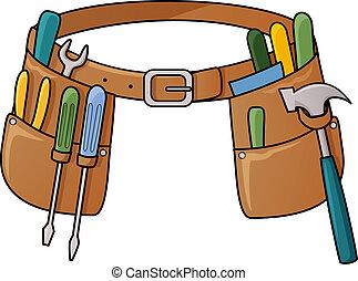 illustrazione riserva, di, cintura attrezzo