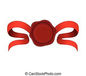illustrazione, rosso, curvo, nastri, rosetta, vettore, charmant