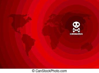 illustrazione, rosso, vettore, coronavirus, spalmare, porcellana, nuovo, intorno, terra, fondo, world.