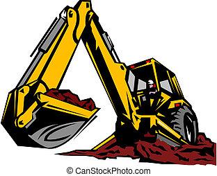 illustrazione, scavatore