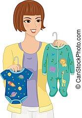illustrazione, scegliere, mamma, ragazza bambino, vestiti