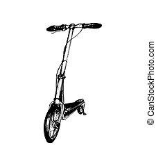 illustrazione, schizzo, disegnato, trasporto, scooter., spinta, fondo., vettore, mano, bianco, foot-driven
