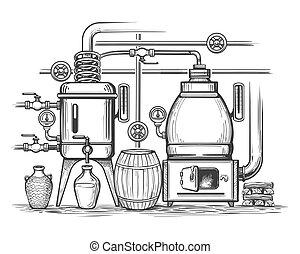 illustrazione, schizzo, distilleria