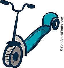 illustrazione, scooter, mano, fondo., vettore, disegnato, bianco, disegno