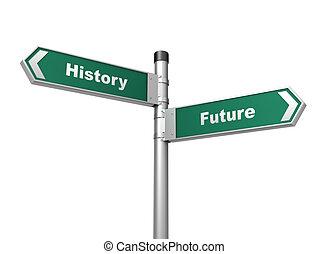 illustrazione, segno, futuro, storia, strada, 3d