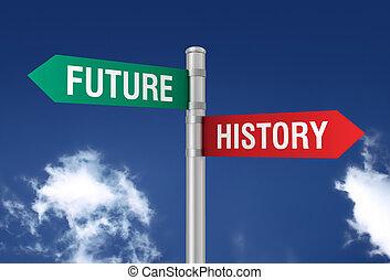illustrazione, segno, passato, futuro, strada, 3d