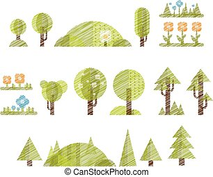 illustrazione, set., albero, collezione, vector., handdrawn, fiori