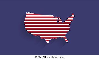 illustrazione, sfondo blu, mappa, unito, bandiera, stati, vettore