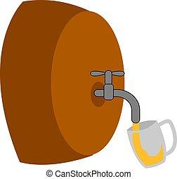 illustrazione, sipping, fondo., birra, vettore, vetro, bianco