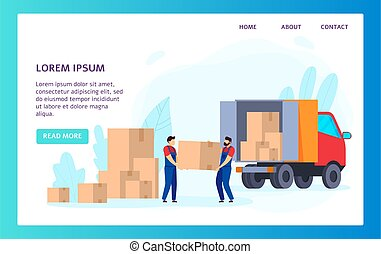 illustrazione, sito web, ditta, trasporto, riallocazione, spostamento, servizio, vettore
