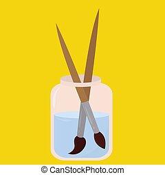 illustrazione, spazzole, fondo., vettore, vetro, bianco