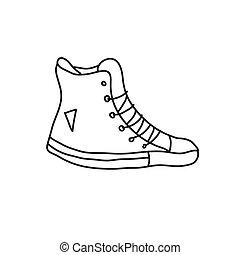 illustrazione, style., disegnato, vettore, mano, casato, ...