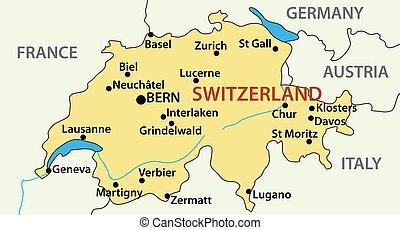 illustrazione, svizzera, vettore, mappa, -