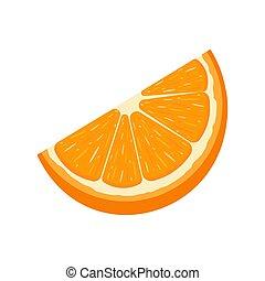 illustrazione, taglio, organico, fruit., tangerine., isolato, frutta, style., fondo., vettore, fetta, arancia, fresco, bianco, qualsiasi, cartone animato, design.