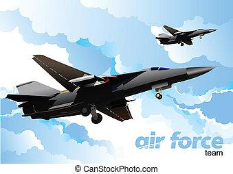 illustrazione, team., vettore, forza, aria