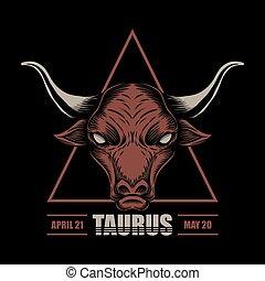 illustrazione, toro, zodiaco, vettore