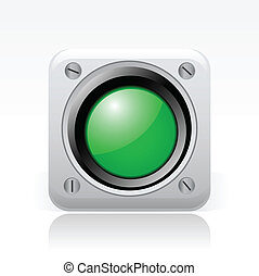 illustrazione, traffico, isolato, icona, vettore, spia verde...