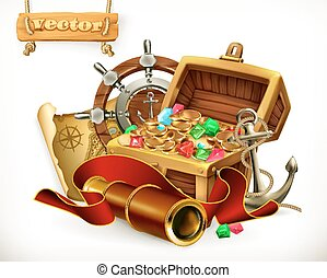 illustrazione, treasure., vettore, avventura, pirata, 3d